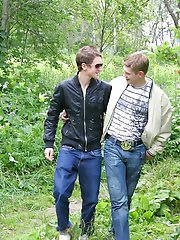 Young gay friends met in a park and fucking each other